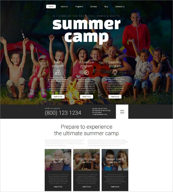 Family Summer Camp Responsive Website Template $199
