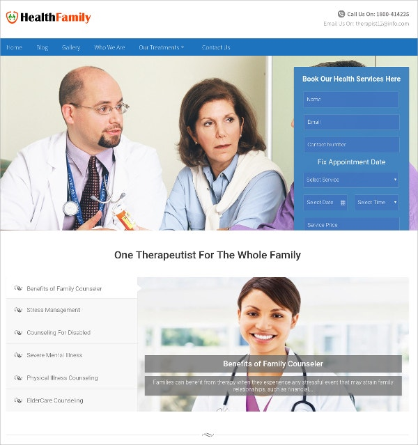 Family Hospitals, Medical Consultant Website Theme $79