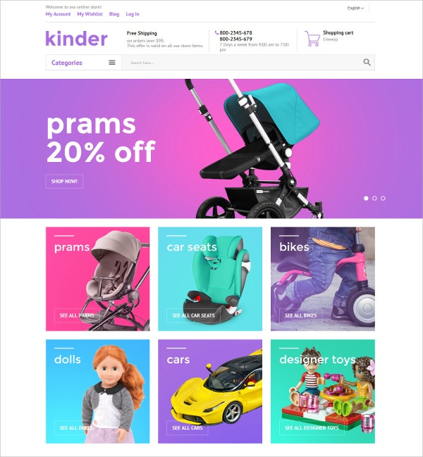 Childern Shoping Family Magento Website Theme $179
