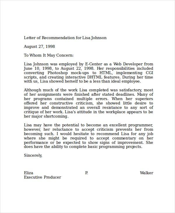 samples of letters of recommendations