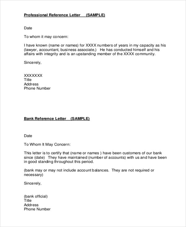 7 Professional Reference Letter Templates Free Sample Example – Bank Reference Letter Sample