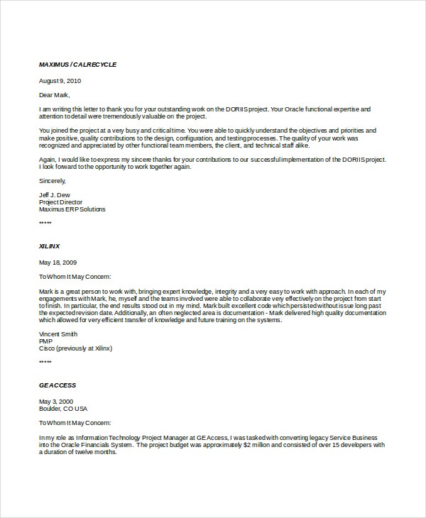 15 Professional Reference Letter Template Free Sample Example