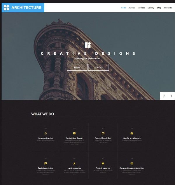 Architecture Scrolling WordPress Website Theme $45