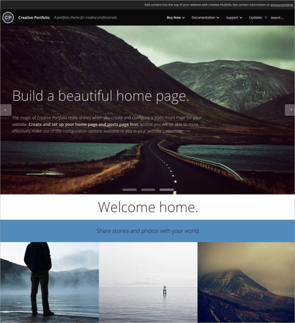 Creative Portfolio Scrolling WordPress Website Theme $175