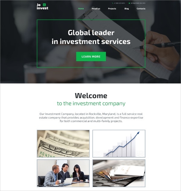 Investment Scrolling WordPress Website Theme $45