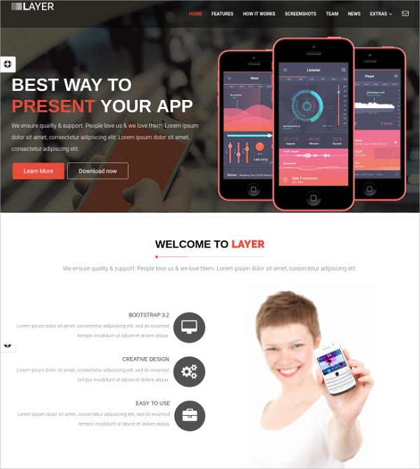 Responsive Scrolling App Landing Page Website Theme $11