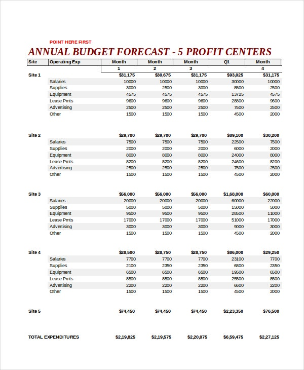 annual budget forecast template