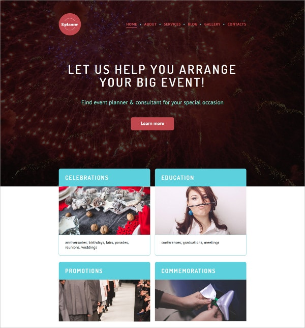 Event Planner Scrolling WordPress website Theme $45