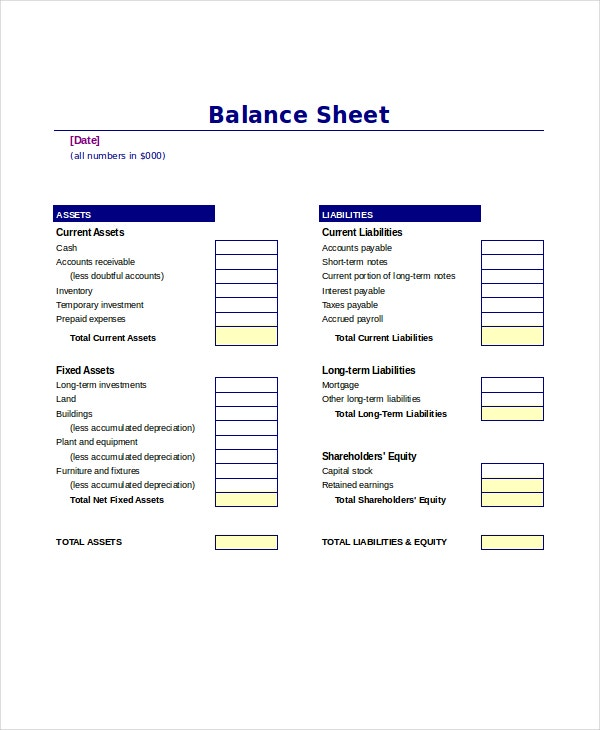 ms word balance sheet template