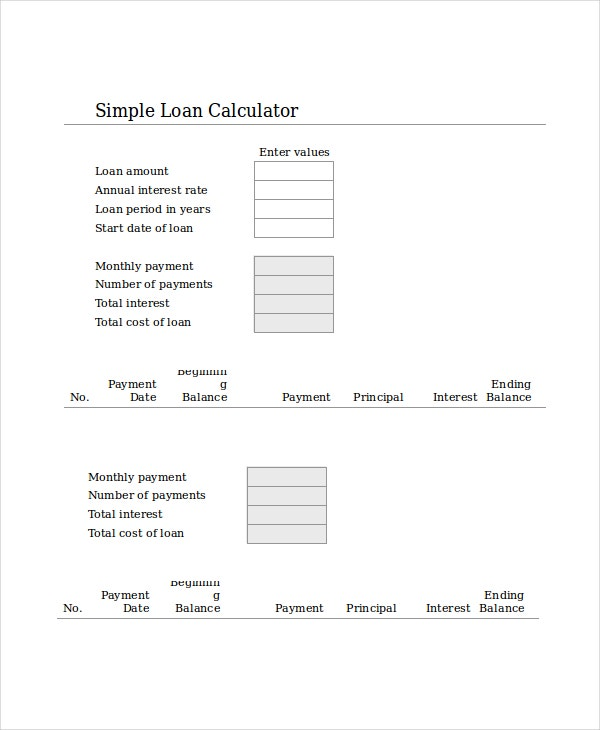 simple loan calculator in ms word