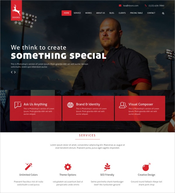 Multipurpose Scrolling Website Template $12