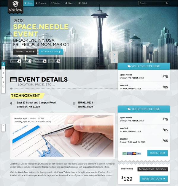 event details scrolling joomla website theme