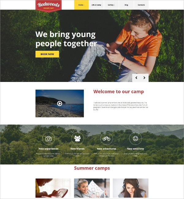 Summer Camp Scrolling WordPress Website Theme $45