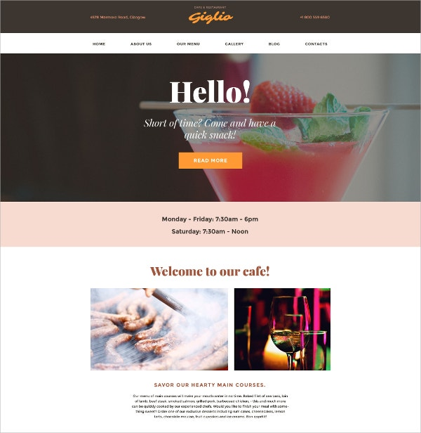 Rrestaurant Scrolling WordPress Website Theme $45