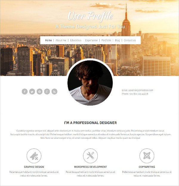 Profile Scrolling WordPress Website Theme $19