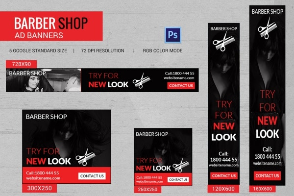 Barbershop Banner Ads