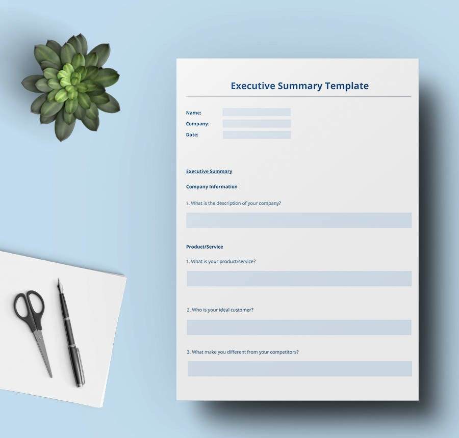 entrepreneur executive summary template