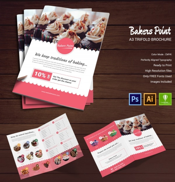 16 bakery templates psd eps cdr format download for Bakery brochure template free