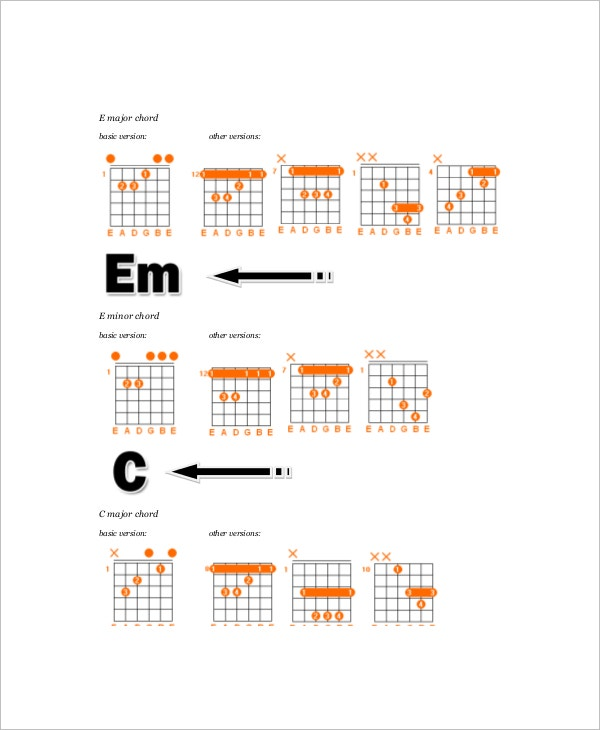 6 Guitar Chords Notes Free Sample Example Format Free