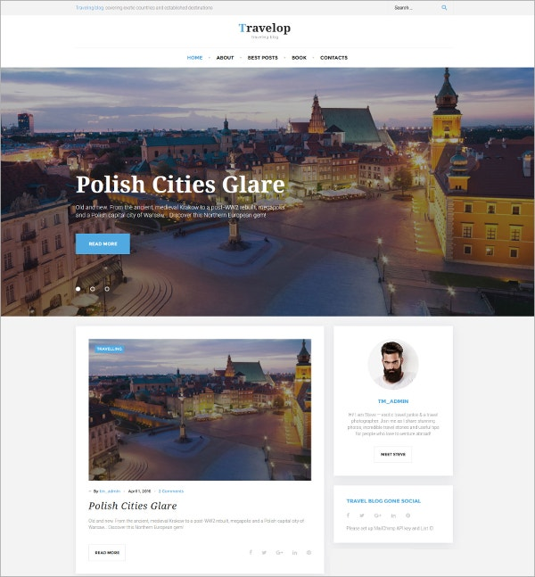 Travel Blog WordPress Website Theme $27