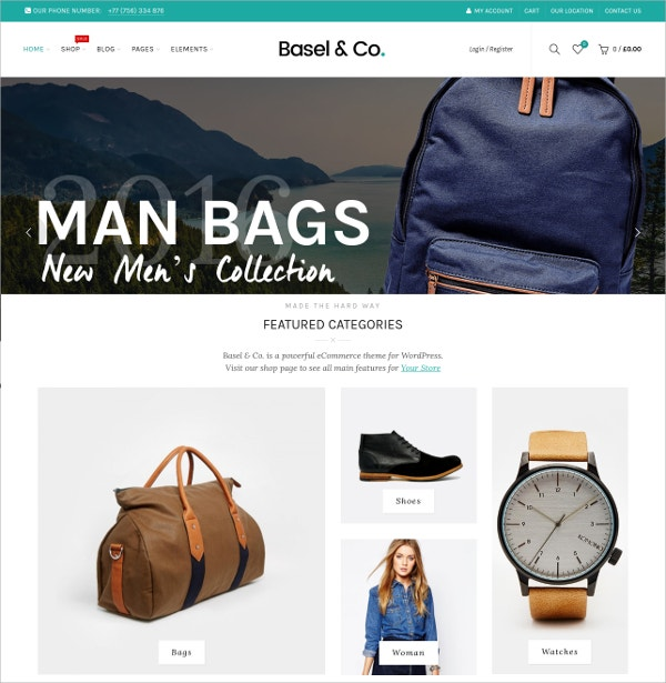 Responsive eCommerce WP Website Theme $59