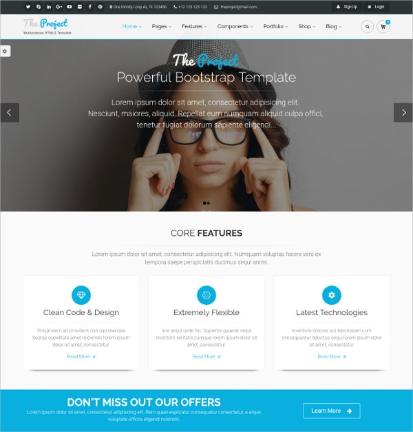 Multipurpose Bootstrap Website Template $16