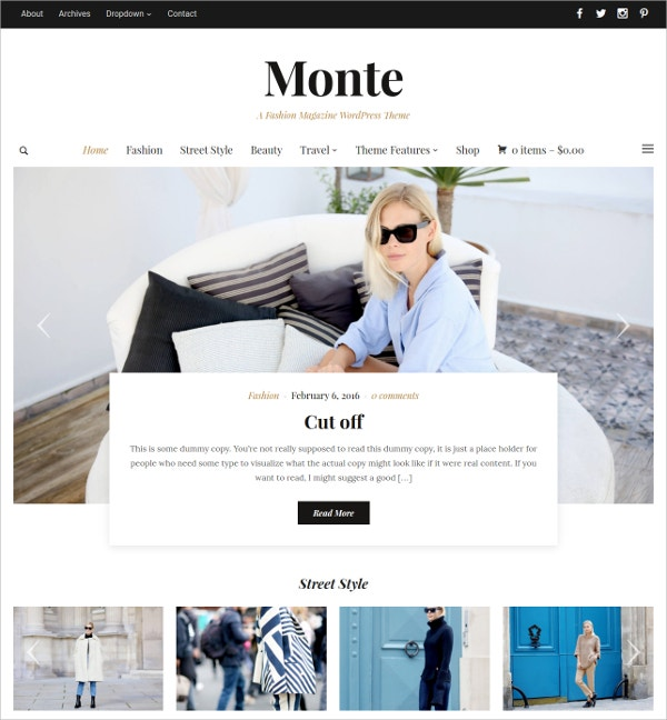 Elegant Magazine Website Theme $69