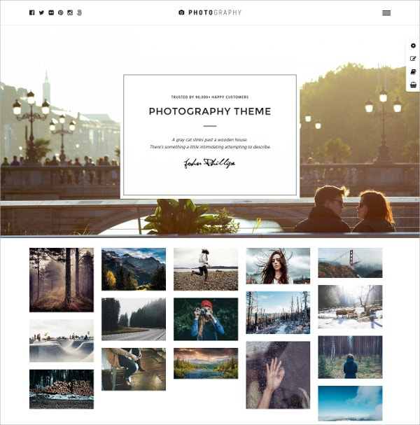 Responsive Photography WordPress Website Theme $59