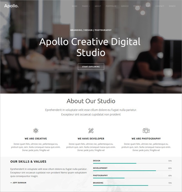 Creative Photography Website Theme $12