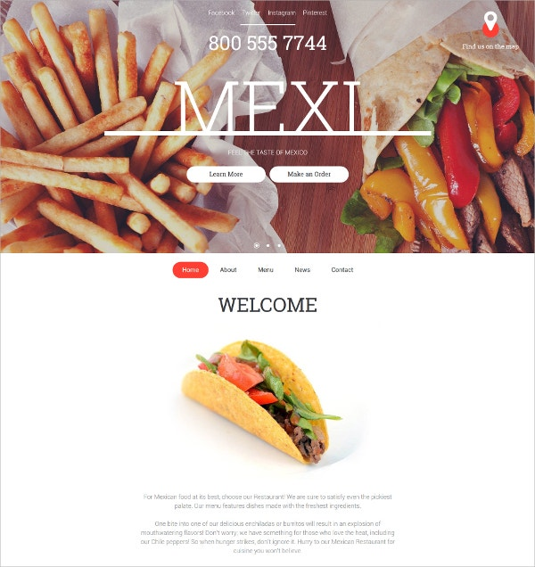 restaurant website template 141