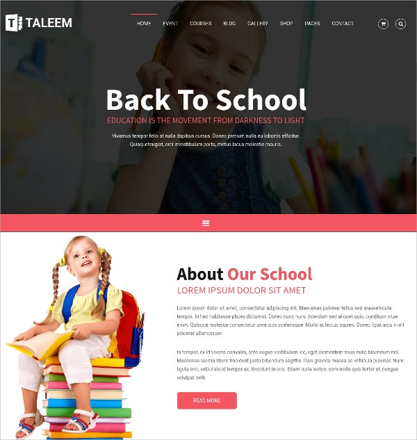 School Education HTML5 Website Template $14
