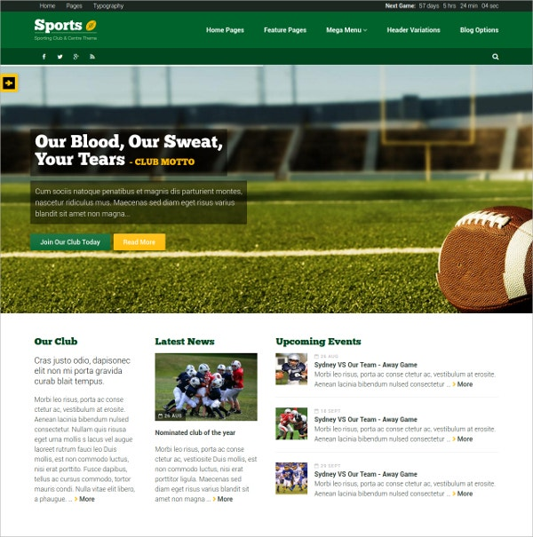 Sporting Club Website Template $20