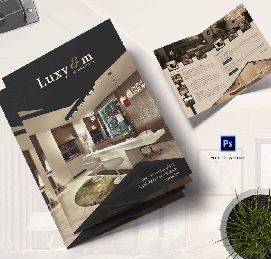 Free Brochure Templates  Hotel Corporate Travel  Free
