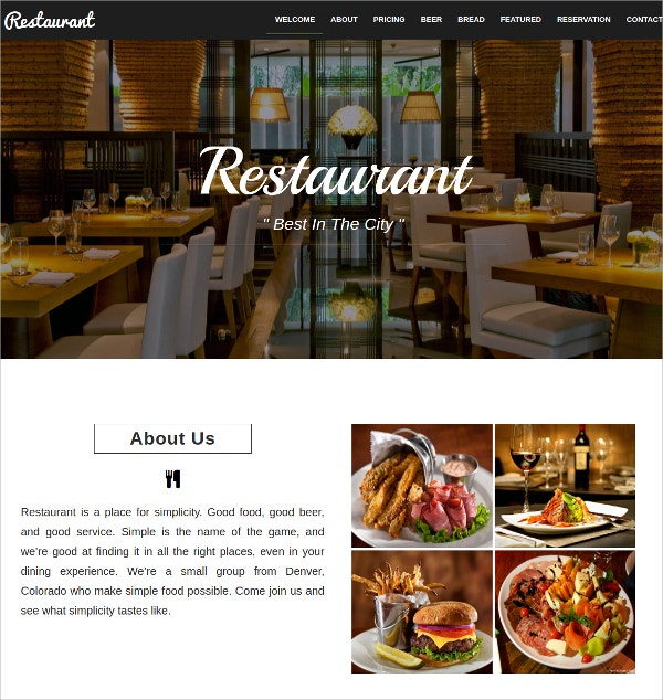 Free Restaurant Cafe HTML5 Website Template $11
