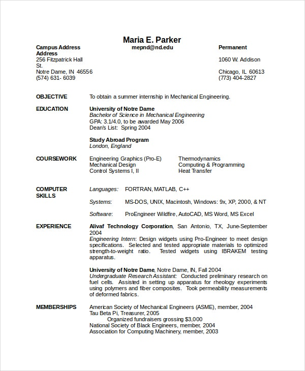 resume for a mechanical engineer