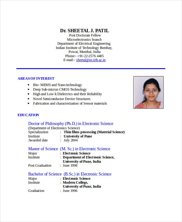sample cv rf engineer