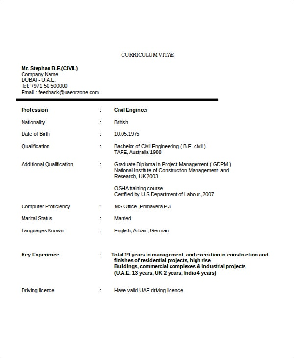 civil engineering resume - Engineering Resume Format
