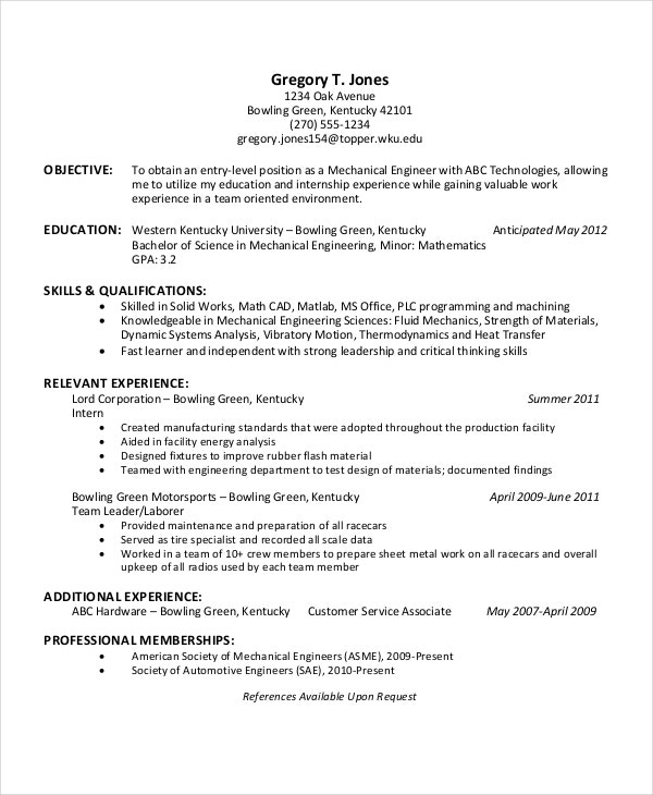 Engineering Internship Resume  Sample Mechanical Engineering Resume