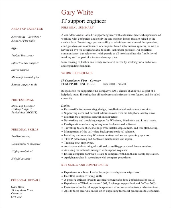 tech support resume template technical engineer cv example it engineering