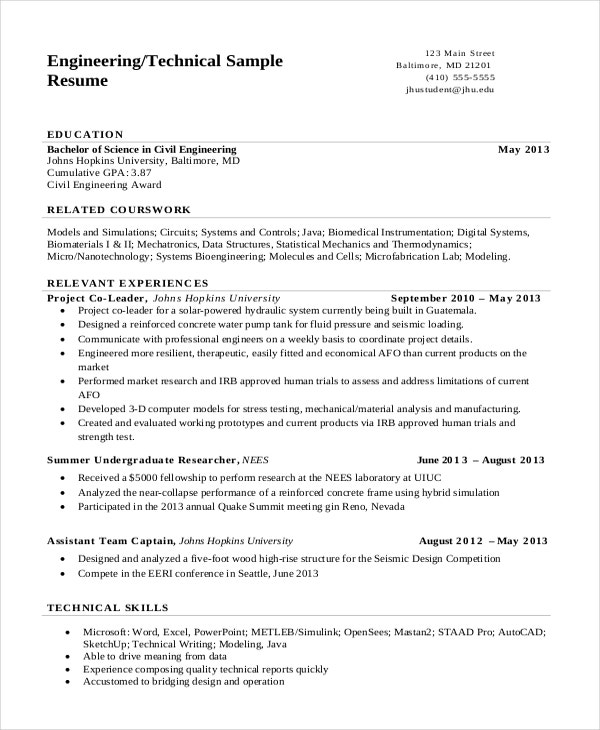 technical engineering resume - Engineering Student Sample Resume