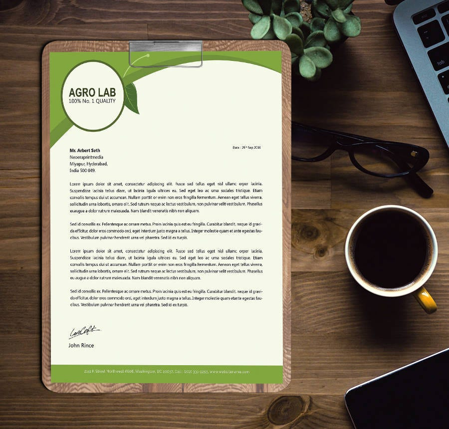 agriculture letter head template