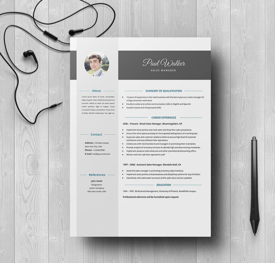 resume template for manager job position