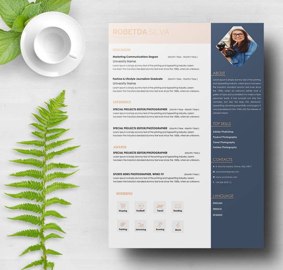 Photography Resume Template  Graphic Design Resume Samples