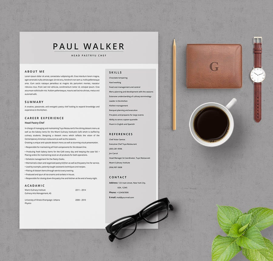 Pastry Chef Resume Template