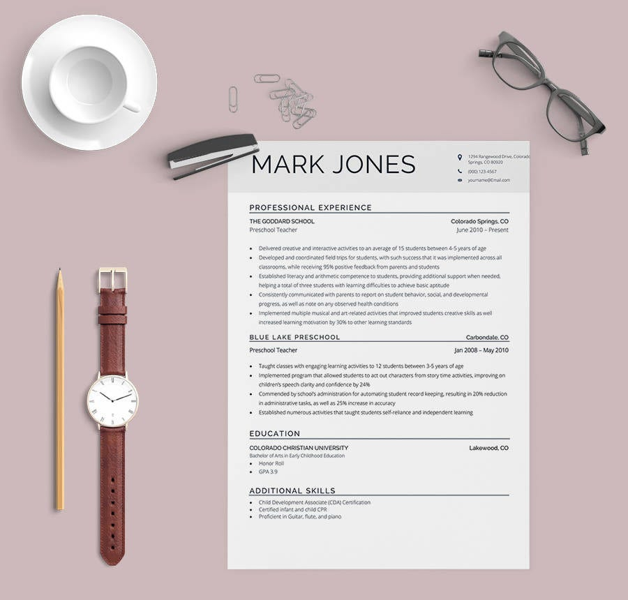 School Teacher Resume Template
