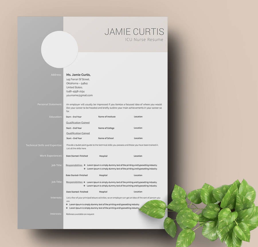 ICU Nurse Resume Template