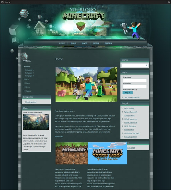 minecraft wordpress website theme