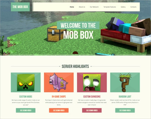 minecraft html5 website theme