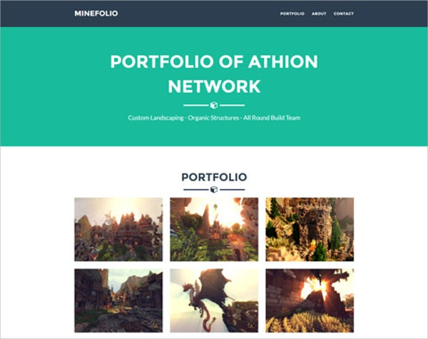 simple minecraft portfolio website theme