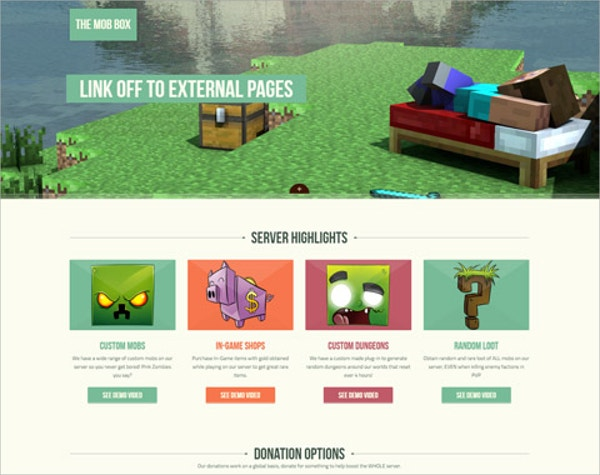 minecraft single page website theme